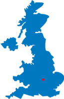 Map of the UK pinpointing Milton Keynes